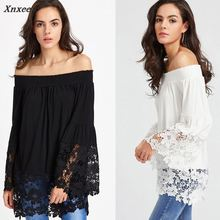 Autumn Summer Women Blouse 2018 Xnxee Solid Black White Patchwork Lace Flare Sleeve Slash Neck Off Shoulder Sexy Casual Shirt