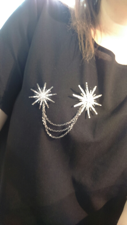 Punk Vintage Star Chain Crystal Brooch