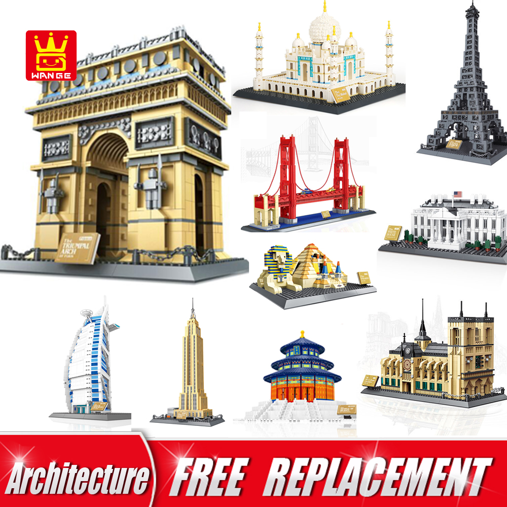 WANGE World Famous Architecture Series Building Blocks Bricks Educational Kids Toys for children gifts hot toys nanoblock world famous architecture statue of liberty building blocks mini construction brick model iblock fun for kid