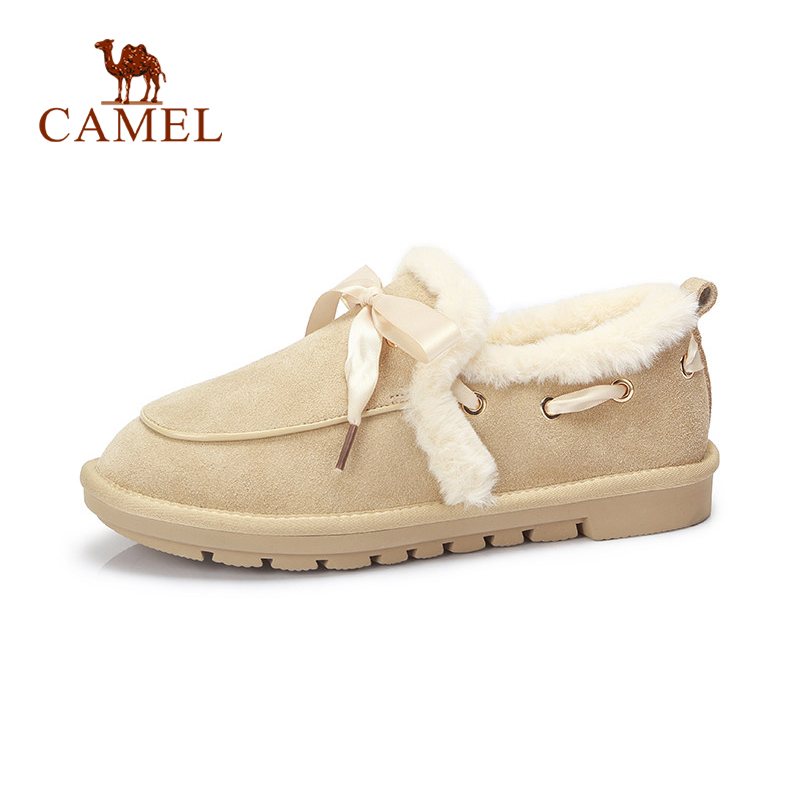 CAMEL Winter New Flats Shoes Women Fashion Riband Lace Casual Single Shoes Ladies Short Plush Fur