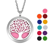 VALYRIA 1PC Dull Silver Tone Stainless Steel Tree of Life Round Magnetic Lock Aromatherapy Essential Oil Diffuser Necklace 30mm