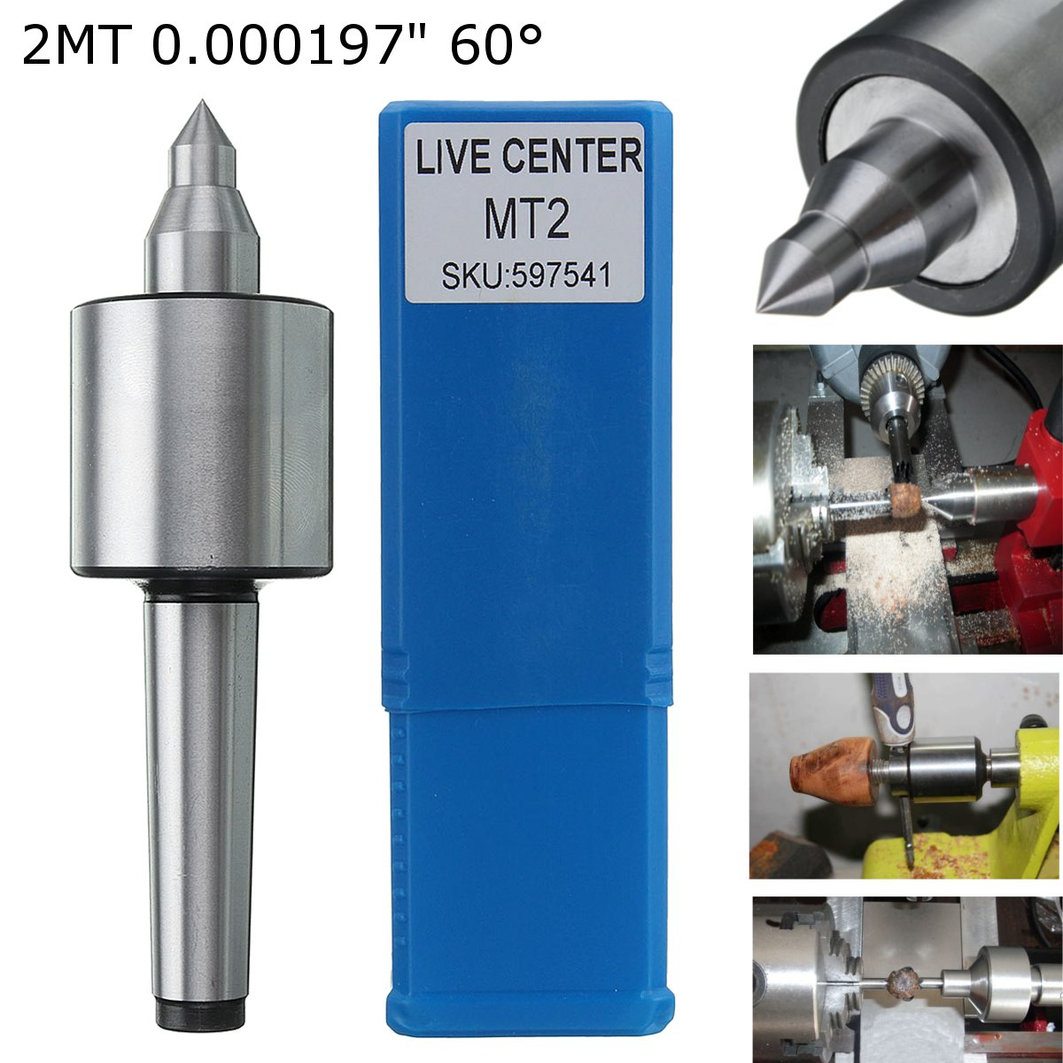MT2 Spindle Lathe Live Center Morse Taper CNC Tool 0.000197 Inch Precision