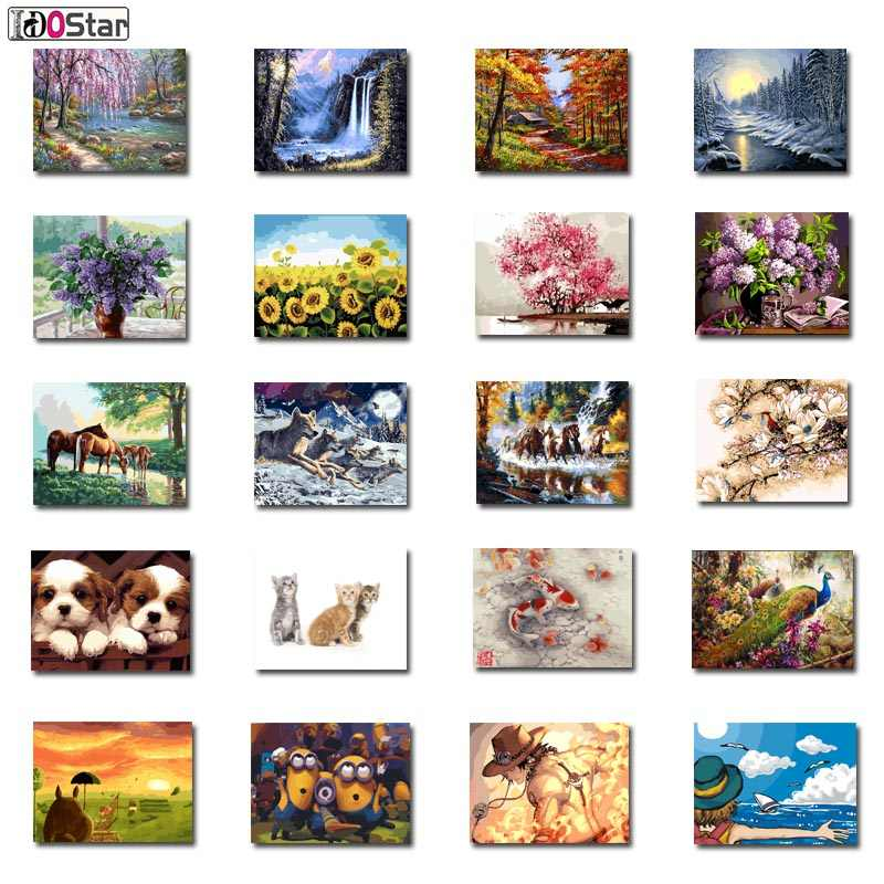 DIY Framed Painting By Numbers Oil Paint Photo Wall Art Digital Pictures Painting Decor For Home Decoration