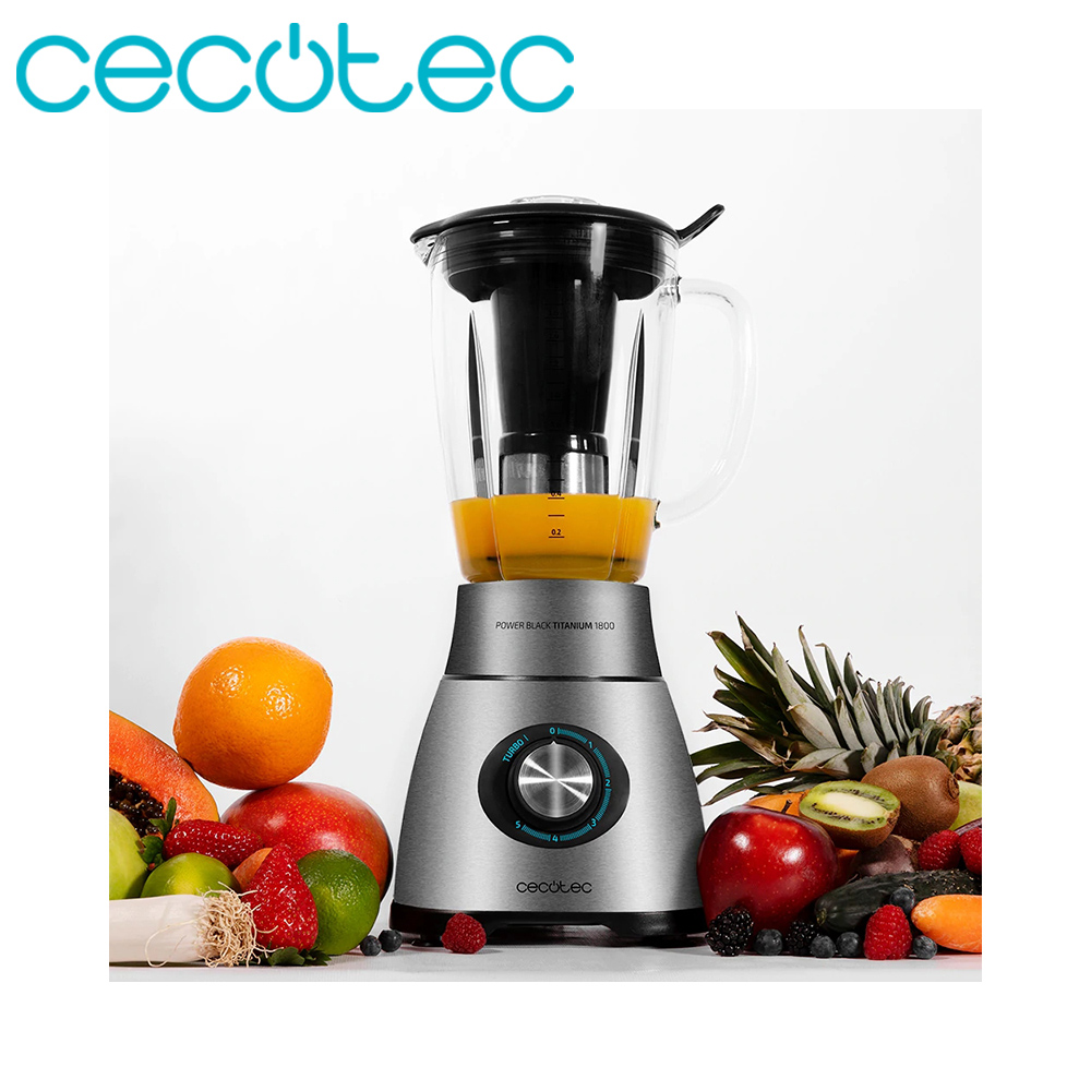 Cecotec Power Black Titanium 1800 Glass Blender 1800W Power Turbo Function 5 Speeds With 6 Blades And Heat Resistant Jug 1.8L