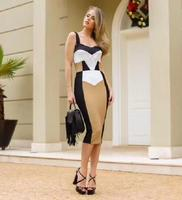 High Quality Celebrity Yellow Black patchwork Slip Knee Length Sexy Rayon Bandage Dress Evening sexy Dress 2018 D 3
