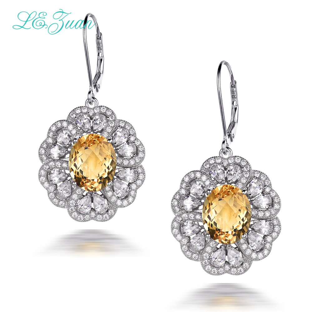 I&zuan 9.54ct Natural Citrine Drop Earrings For Women Real 925 Sterling Silver Jewelry Cluster Gemstone Flower Earring E0067-W05I&zuan 9.54ct Natural Citrine Drop Earrings For Women Real 925 Sterling Silver Jewelry Cluster Gemstone Flower Earring E0067-W05