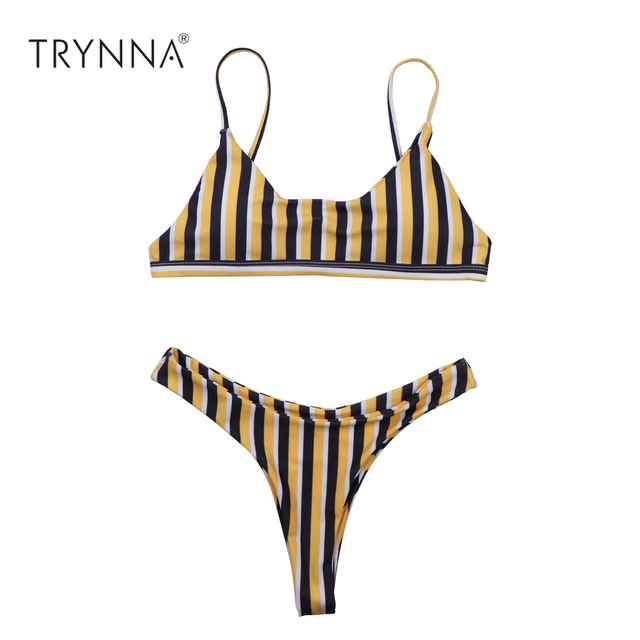 1784933a432 Sexy Brazilian Bikinis Women Yellow Striped Leopard Swimwear Beach Bathing  Suit Push Up Bikini Set Halter