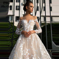 Puffy 2019 A Line Off Shoulder Bridal Gowns Tulle Long sleeve Wedding Dresses Appliques Vestido De Noiva women Wedding dress