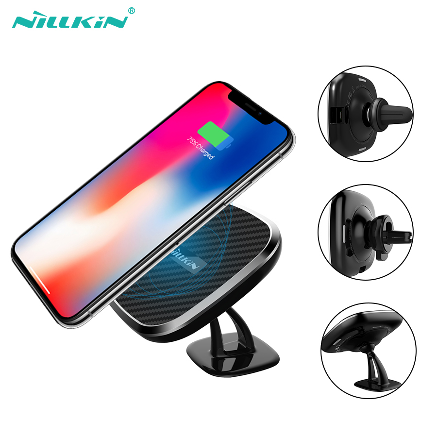 NILLKIN Fast Qi Car wireless charger 10w adjustable Phone Holder wireless Charging Pad For iPhone X/8/8+ For Samsung S10 S10+ S9 держатель для смартфона с функцией беспроводной зарядки
