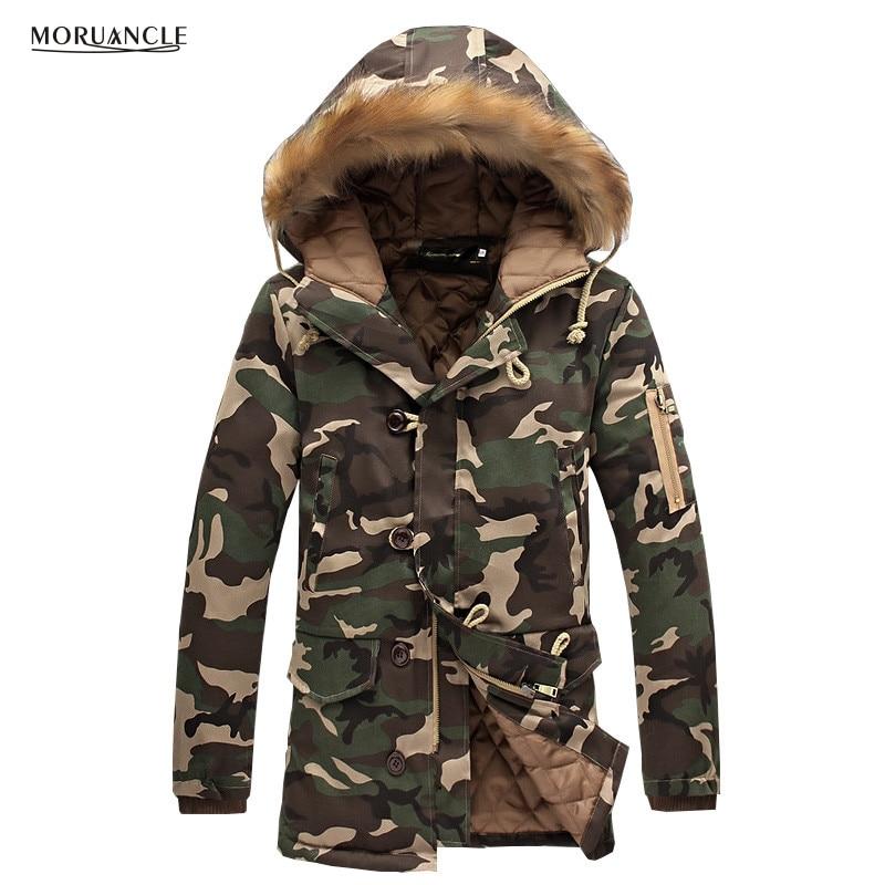MORUANCLE Winter Mens Long Camo Jackets Extended Warm Parka Male Cotton Lined Longline Camouflage Coats Plus