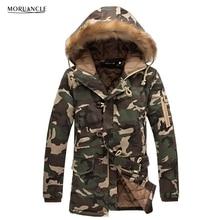 MORUANCLE Winter Herren Camo Jacken Erweitert Warmen Parka Männlichen Baumwolle Gefüttert Longline Camouflage Mäntel Plus Größe M-5XL Pelzhaube