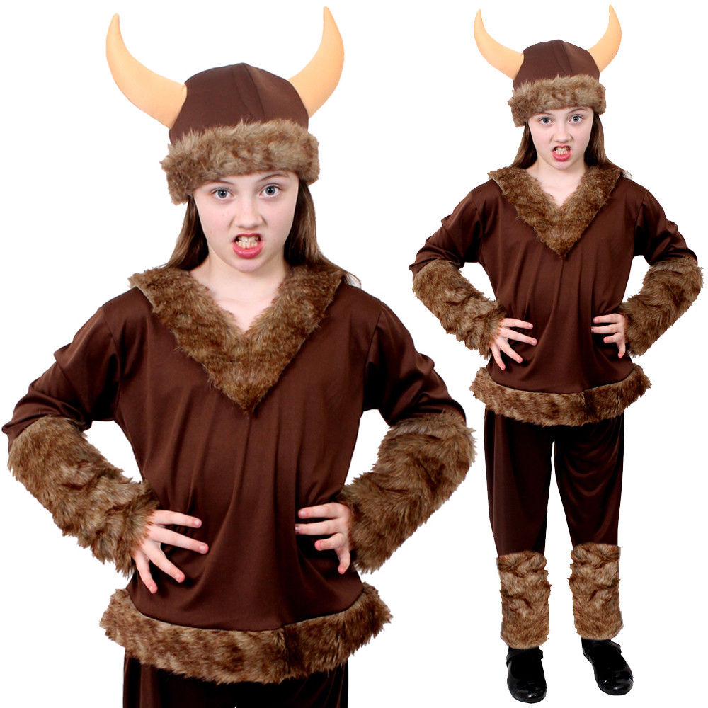 Boys Viking Warrior Costume Child Nordic Saxon World Book Day Fancy Dress Outfit