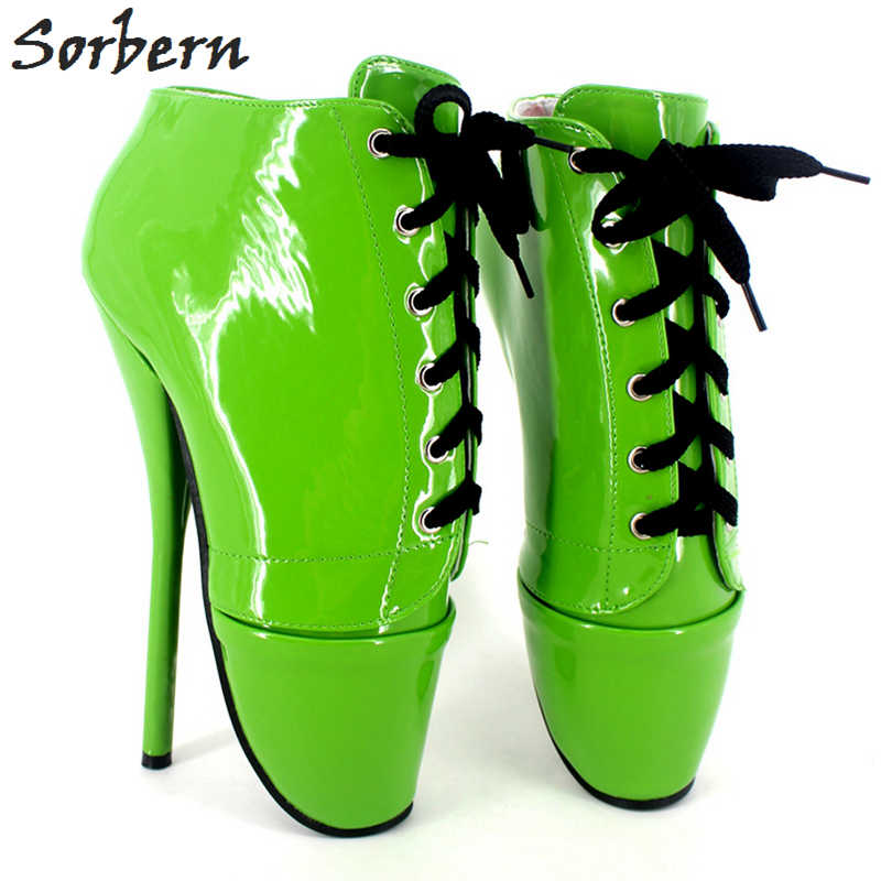 Sorbern Fetish Ballet Heels Women 18cm Ankle Boots Patent Leather Plus Size Custom Color Fetish Ballet Shoes Boots Cosplay B цена 2017