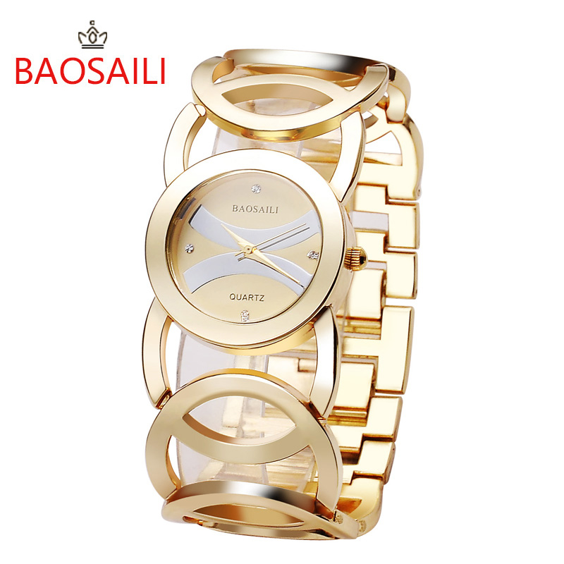 BAOSAILI Luxury Gold Plated Circles Strap Women Watches Quartz Wristwatch Lady Full Steel Bracelet Dress Watch Female Relojes