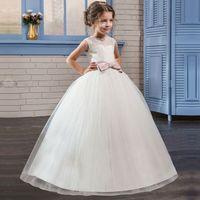 Odzież dla dzieci Dzieci Dziewczyny Wykwintne Pierwszej Komunii Świętej Biały Tulle Suknie Dziewczyny Party Balu Długie Suknie suknie dla Dziewczyn
