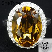 US size 6.25# SheType 5.3g Pretty Real Golden Citrine Gift For Womans 925 Solid Sterling Silver Rings 19x16mm