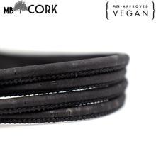 10meter cork cord Black Portuguese cork  color 5mm 3mm,  original, wood, soft, natural eco friendly materials COR 002 5/3