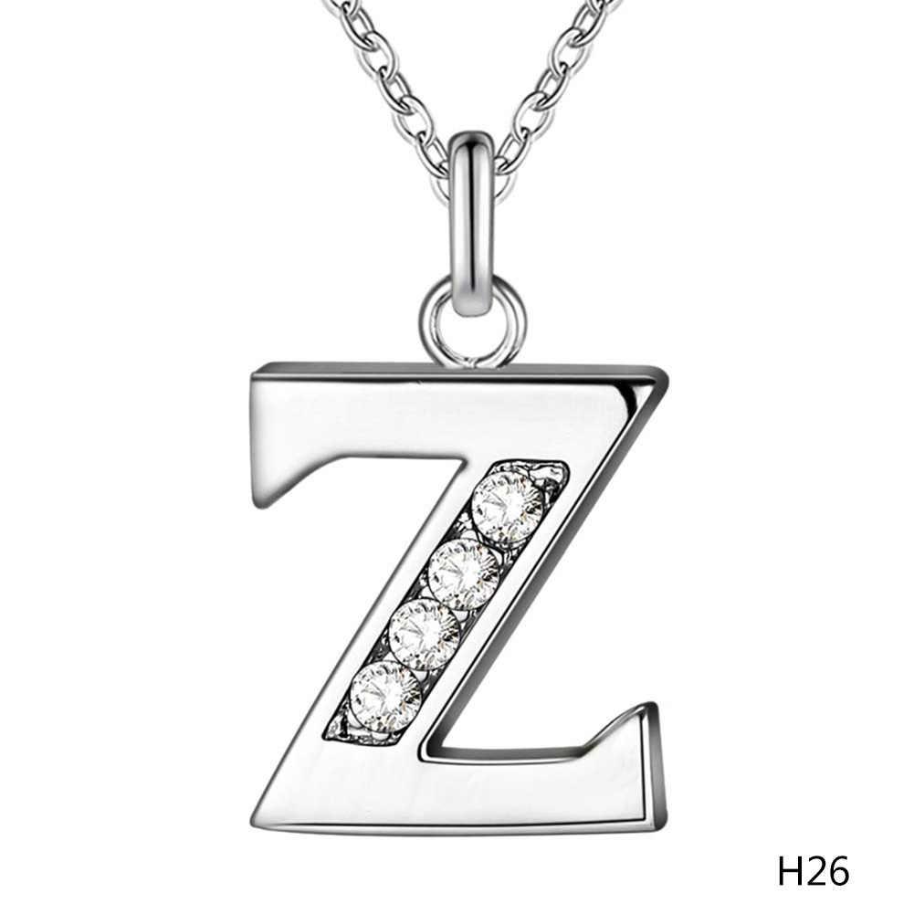 Collare T Letra Do Alfabeto de a a Z 26 Colar Pingente de Prata Cor Charme Letra Inicial Colar de Jóias Mulheres