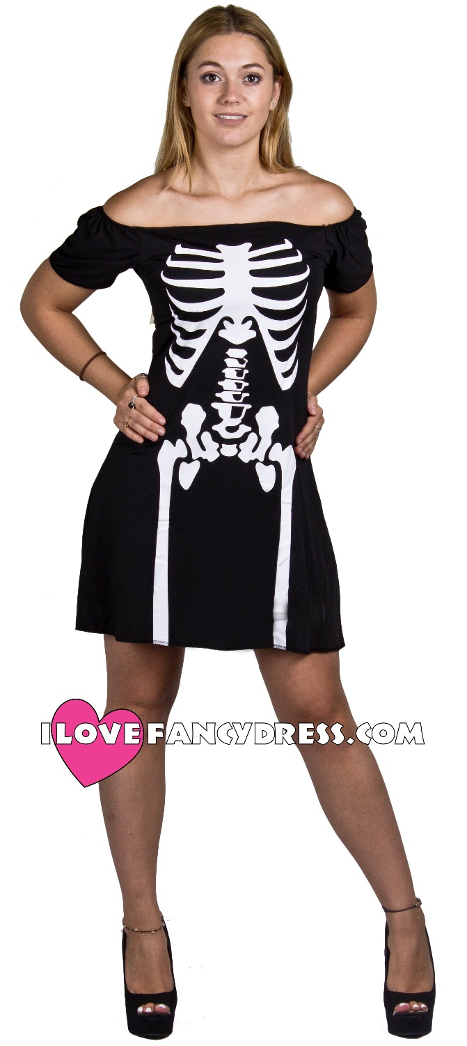 FAST SHIPPING I LOVE FANCY DRESS SKELETON FANCY DRESS HALLOWEEN PARTY SKATER DRESS COSTUME LADIES WOMENS ADULT OUTFIT
