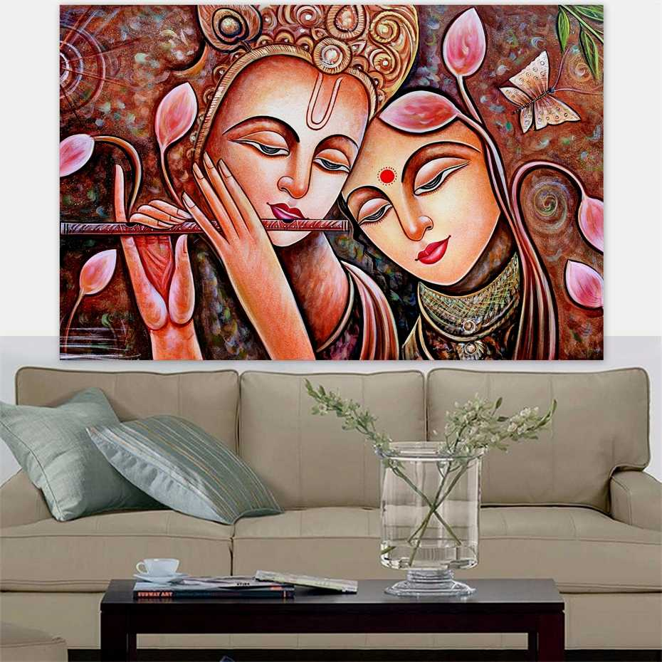 Radha Krishna Jodi Indian God Handmade Hindu Religion Canvas Painting Poster Print POP Wall Art Pictures for Wall Decor