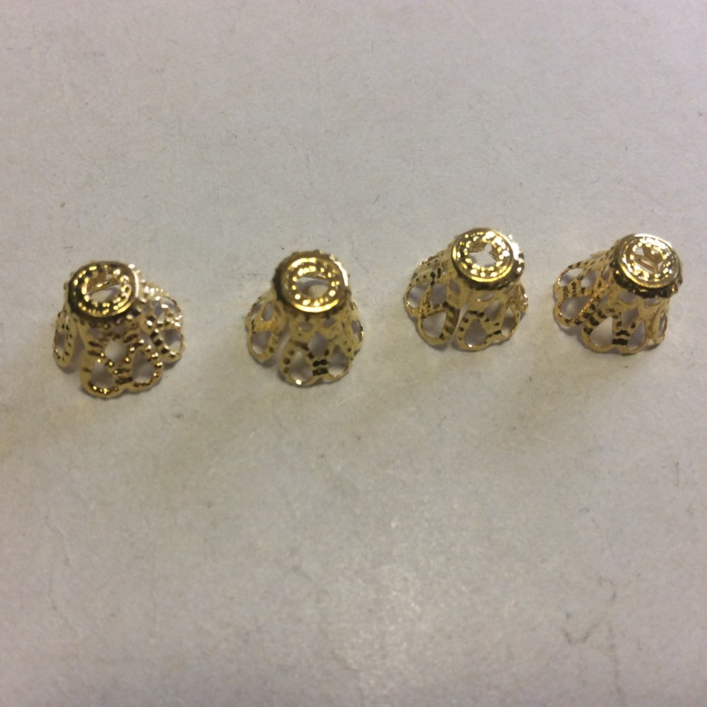 260 Pcs Gold Plated Ornate Filigree Bell Bead Caps 7mm