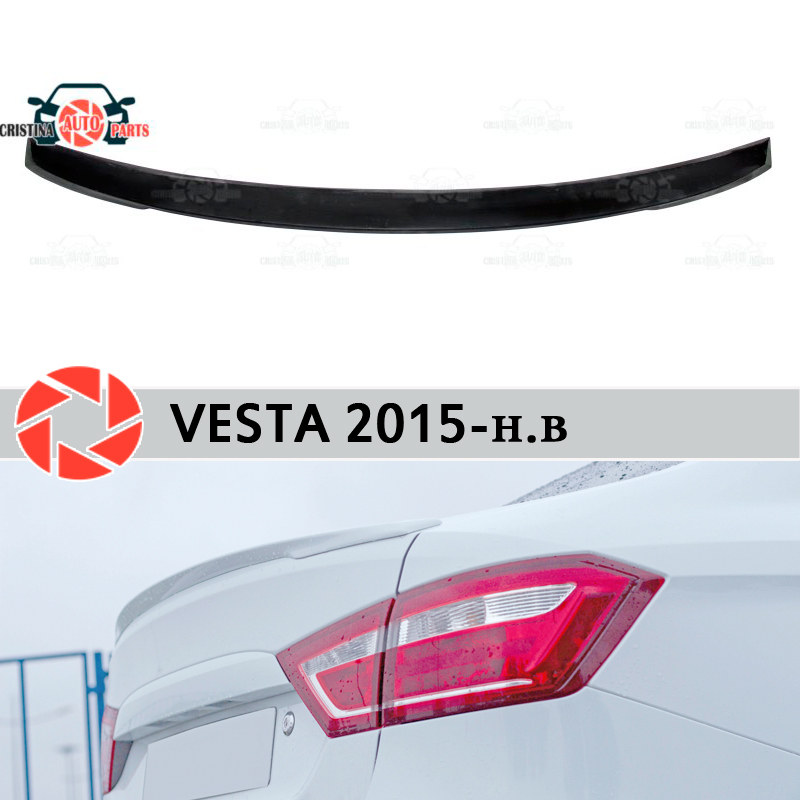 Lip spoiler for Lada Vesta 2015- plastic ABS decoration trunk door accessories protection car styling for lada vesta 2015 2016 scuff plate door sill strip welcome pedal car styling stickers accessories 4 pcs