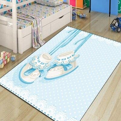 Else Blue Baby Booties Shoes 3d Print Non Slip Microfiber Children Kids Room Decorative Area Rug Kids  Mat
