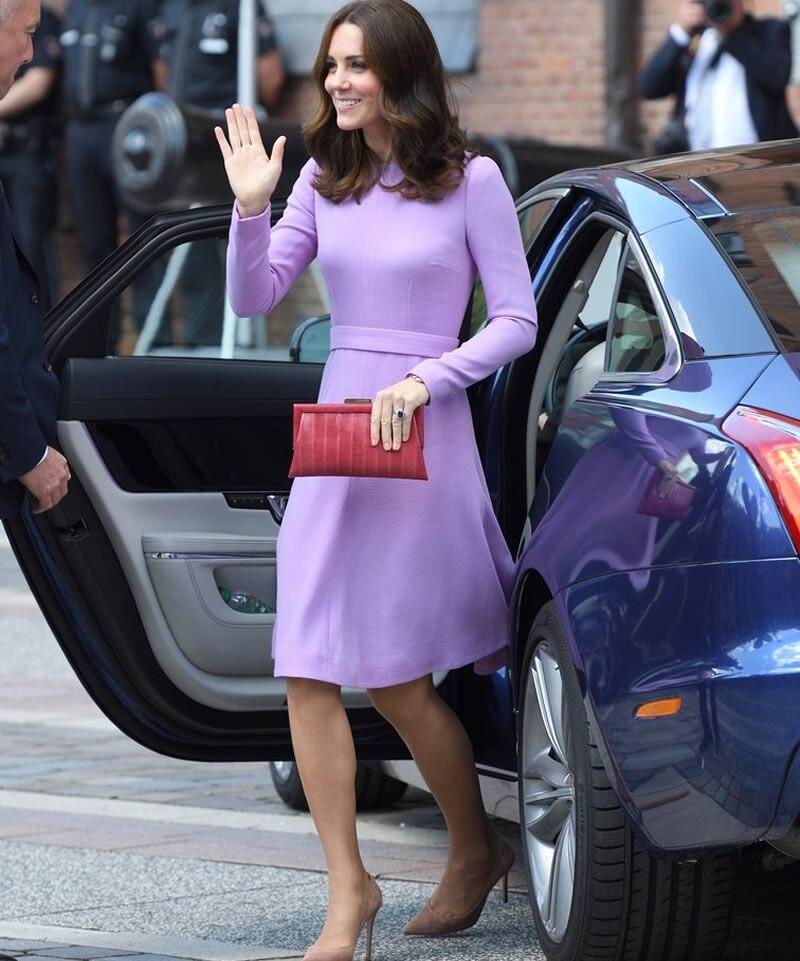 Lana Larga Princesa Púrpura Manga Plisado Middle Nuevo Kate Mujeres Otoño Vestido 2018 qza01x