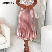 Chic 2019 Metallic Pleated Silk Satin Skirt High Waist Womens Summer Skirt Midi Elegant Pink Silver Saia Femme