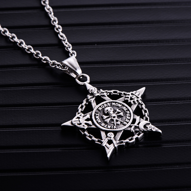 STAINLESS STELL SKULL PENTAGRAM NECKLACE