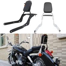 Backrest Sissy Bar Luggage Rack Cushion Pad for Honda Shadow Aero VT750 04-12