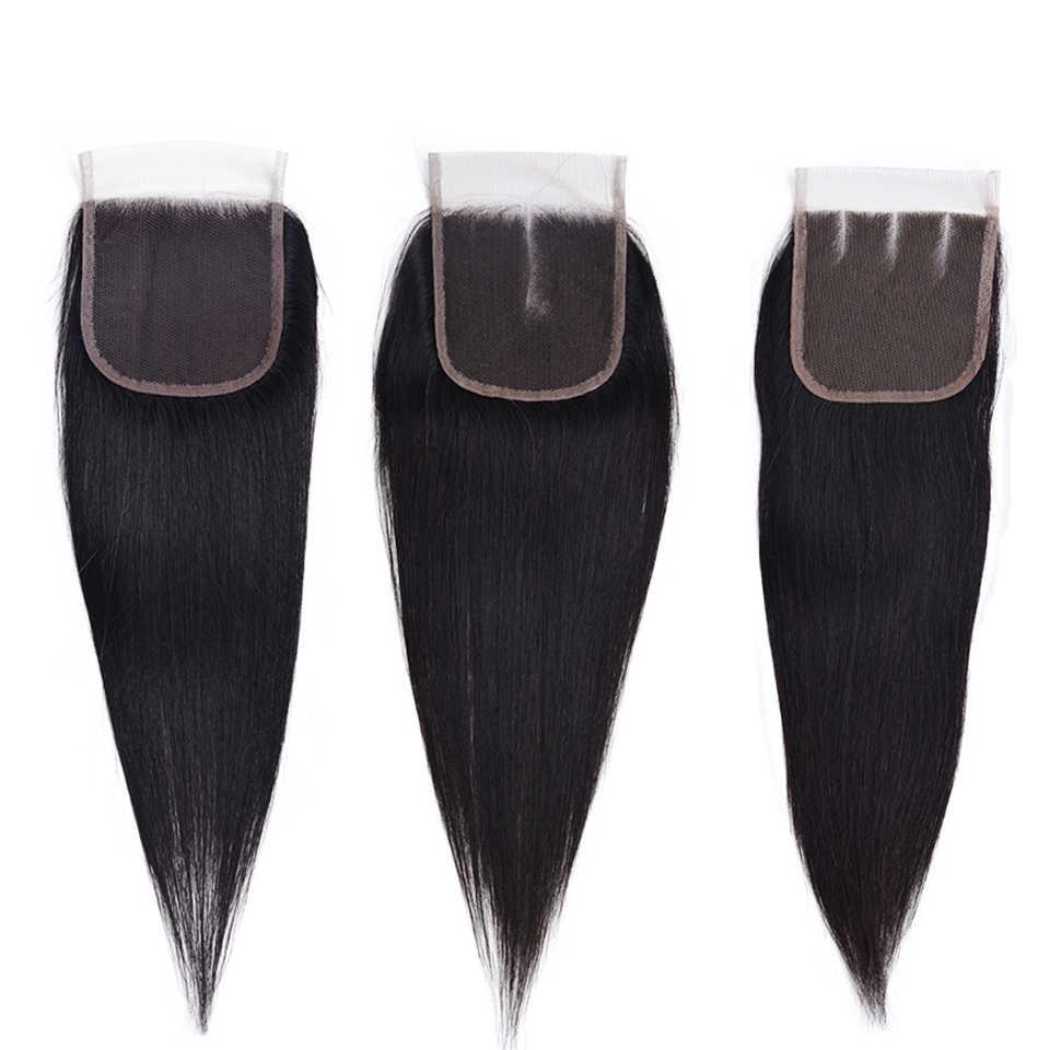 Человеческие волосы Кружева Закрытие бразильские прямые волосы закрытие 4X4 бесплатно/средний/три части не Реми Кружева Закрытие