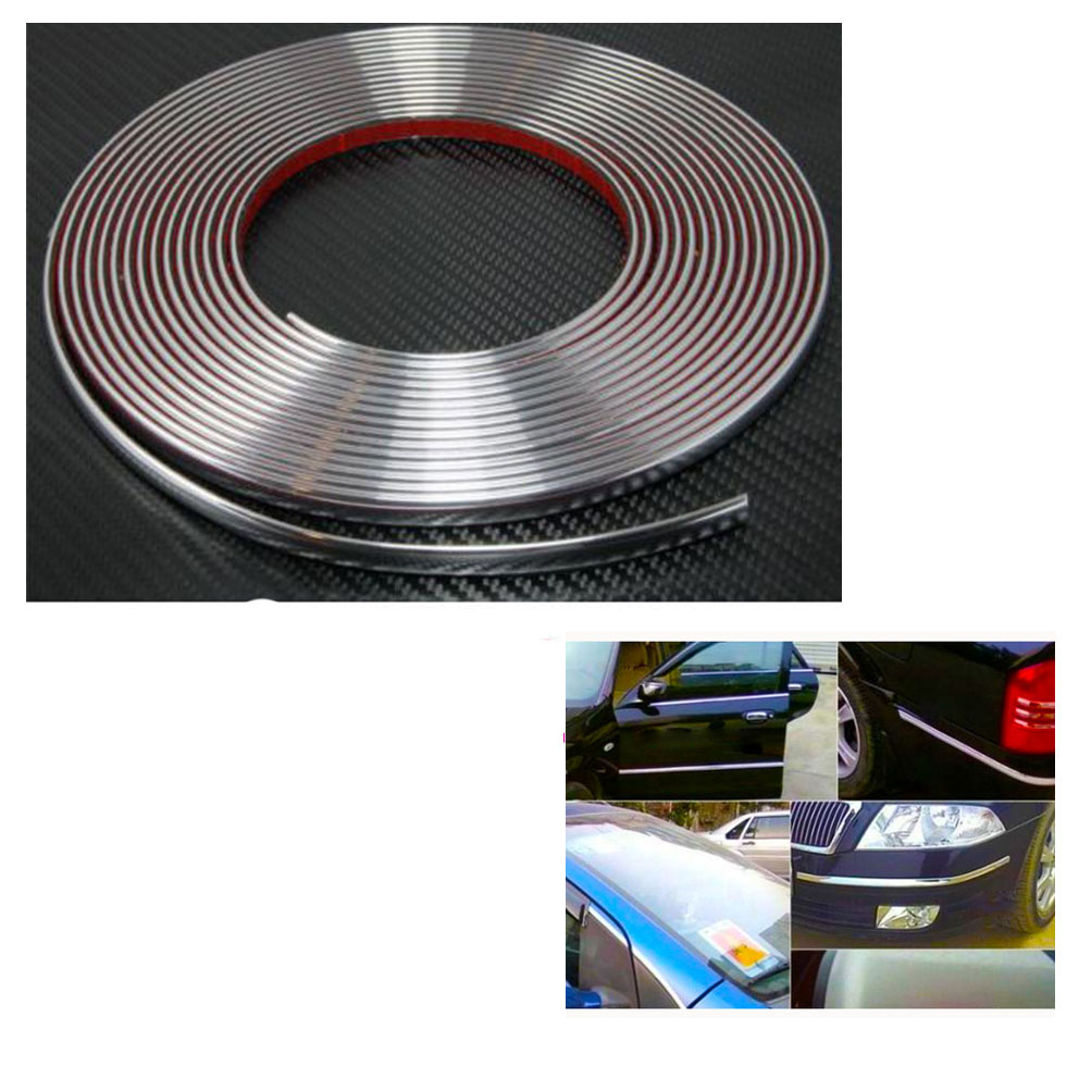 CHIZIYO 15M Silver Car Chrome Styling Decoration Moulding Trim Strip Tape Auto DIY Protective Sticker 8mm 10mm 12mm 15mm 20mm