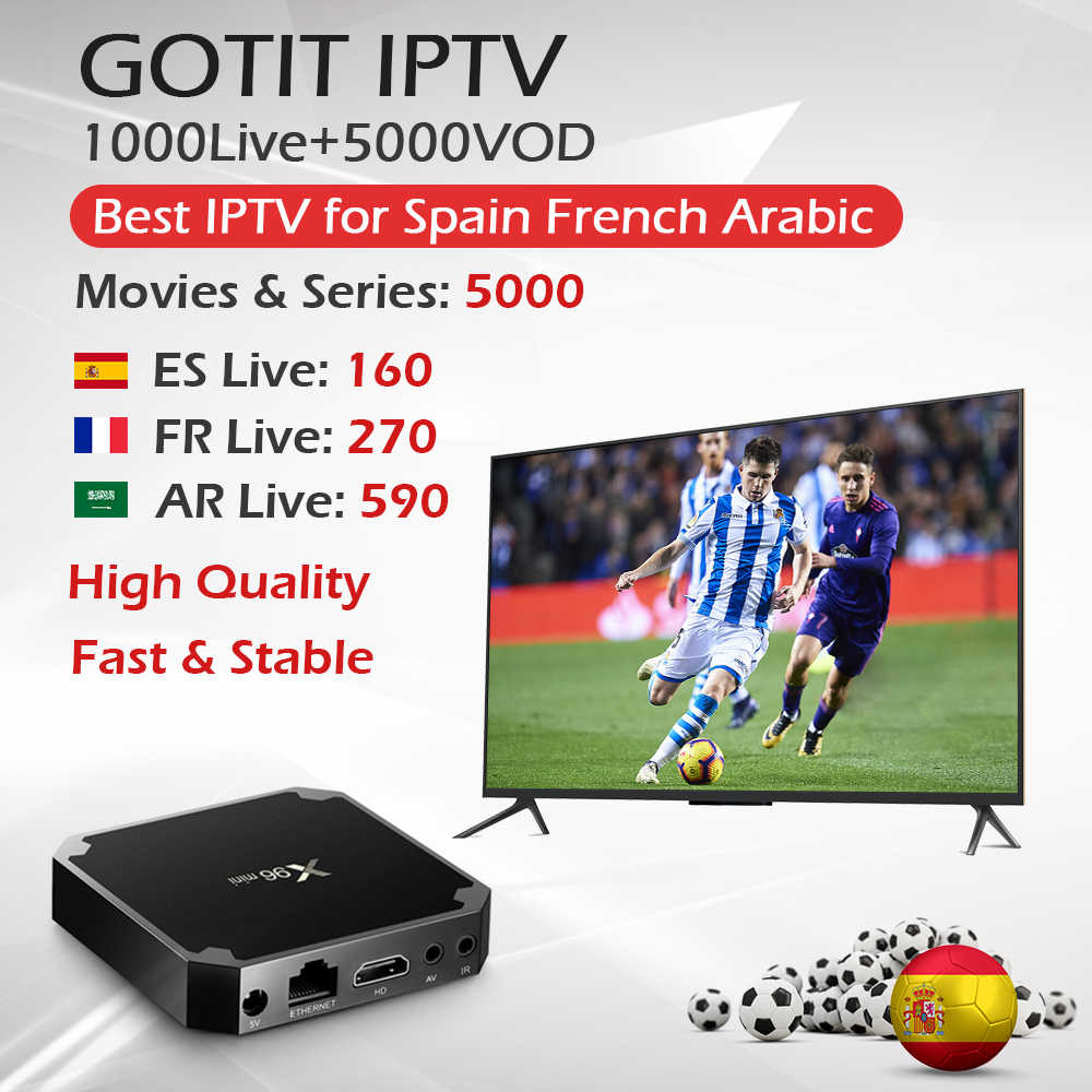 X96Mini 1G 8G & 2G 16G Amlogic S905W Quad Core WiFi 4K HDMI 2.0 en direct + Vod Android 9.0 TV box avec 1 an France arabophone IPTV