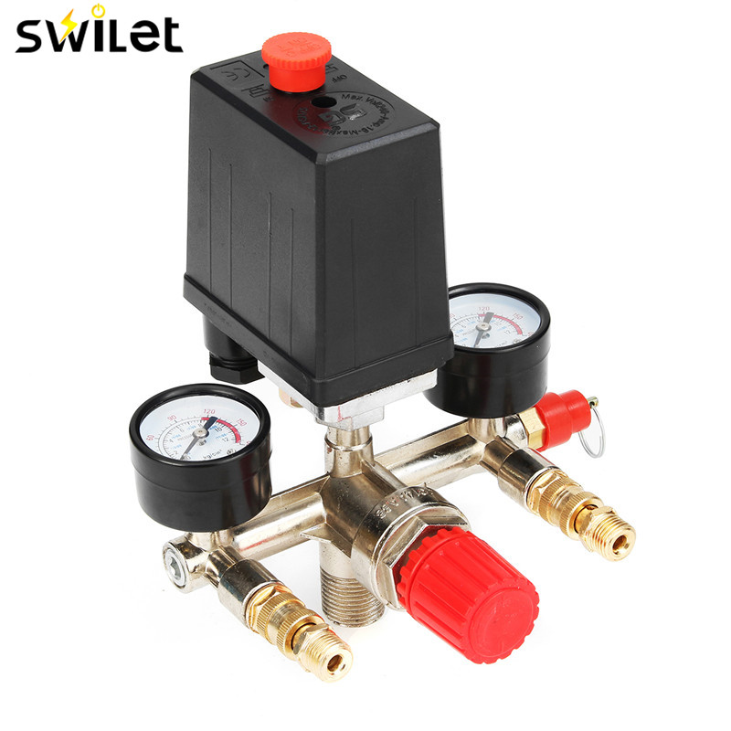 Brand New 1PC Heavy Duty 90-120PSI Air Compressor Pressure Switch Control 240V 20A Air Pump Switch heavy duty air compressor pressure control switch valve 90 120psi 12 bar 20a ac220v 4 port 12 5 x 8 x 5cm promotion price