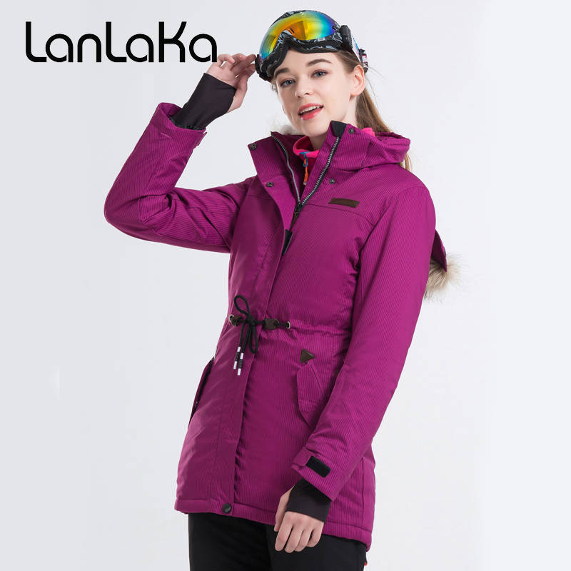 2018 Women Skiing Jacket Mid-Length Snowboard Clothing Fur Hooded Windproof Waterproof Outdoor Sport Wear Thermal Female Coat stylish hooded long sleeve drawstring mid length jeans coat for women