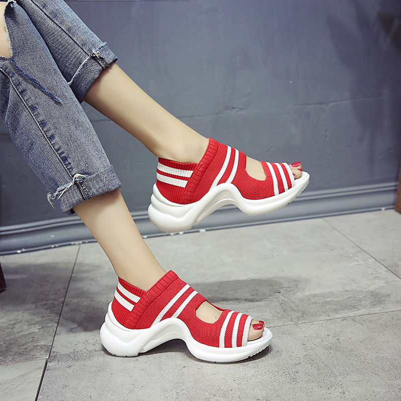 2018 Summer Fashion New Rome female Creepers shoes Open Toe platform Sneakers knitting Thick bottom beach Women Sandals MB-11