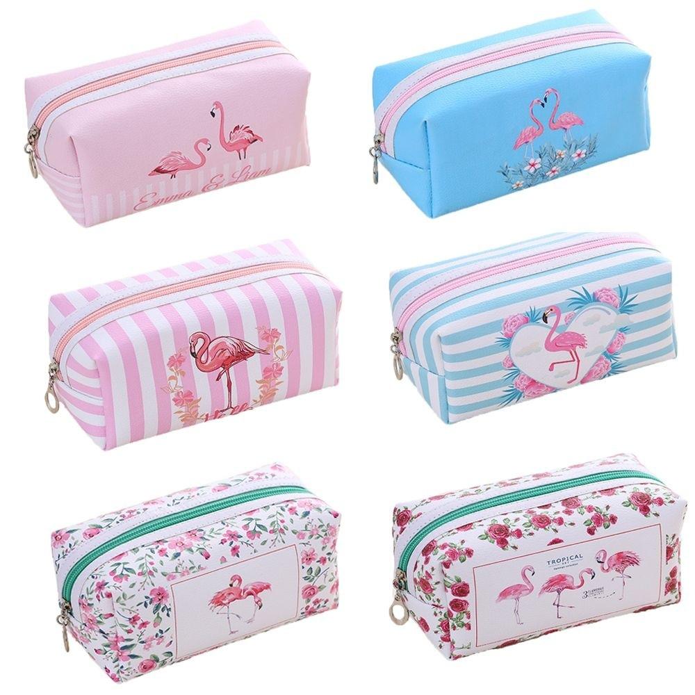 PACGOTH Women Key Card Earphone Cosmetic Bag With Zipper Flamingo Large Storage Cartoon Travel Cosmetic Bag Size 18.5*8.5*8.5cm