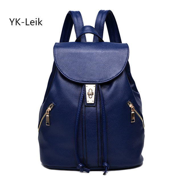 9c57d7f0475 YK-Leik 2017 Leather Backpacks Korean Style Simple And Stylish Women  Backpack Pu Leather College School Bags Travel Women Bag