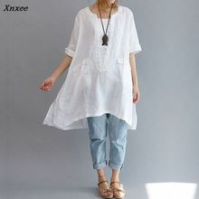 2018 long women blouse Cotton Linen short sleeve Asymmetric Loose Oversized Women Shirt Pockets Tunic Tops Plus Size White L-6XL plus size monochrome asymmetric tunic tee
