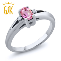 GemStoneKing 925 Sterling Silver Gemstone Ring 0 59 Ct Oval Natural Pink Sapphire White Topaz Ring