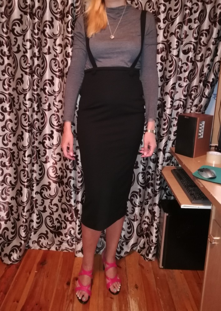 High Waist Slit Back Pencil Skirt With Strap Black Knee Length Plain Zipper Skirt Women Elegant Spring Midi Skirt photo review