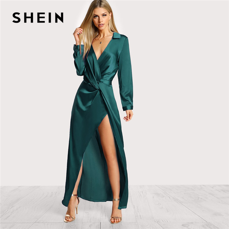 320d4febcb SHEIN Green Collared Plunge Neck Twist Satin Dress Deep V Neck Slim Maxi  Dresses Women Autumn