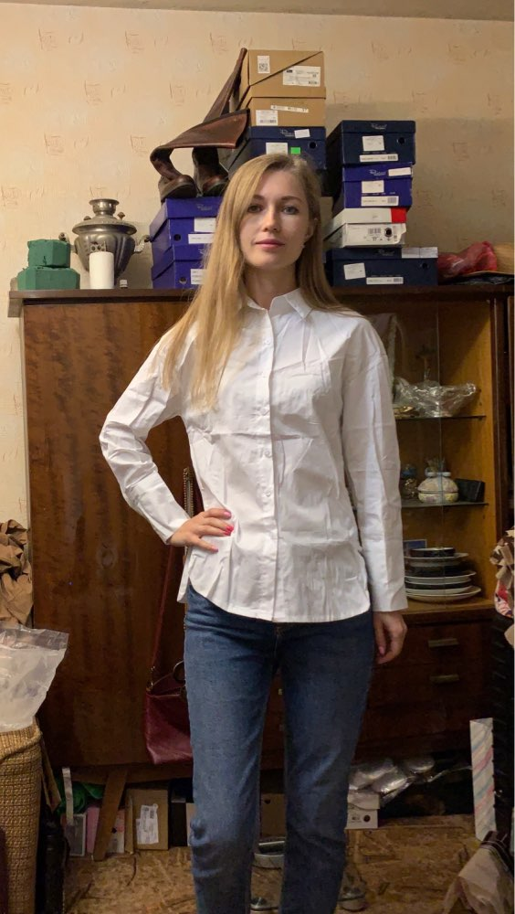 Women Ruffles Hem Turn Down Collar White Shirts Cuff Loose Blouses Female Shirt Casual Tops Blusas 2019 photo review