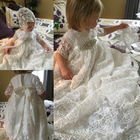 Retro Children's Lace Soft Net Sleeves Baby Long Christening Gown Dress Newborn Props for Photography Baby Baptism Dress Girl