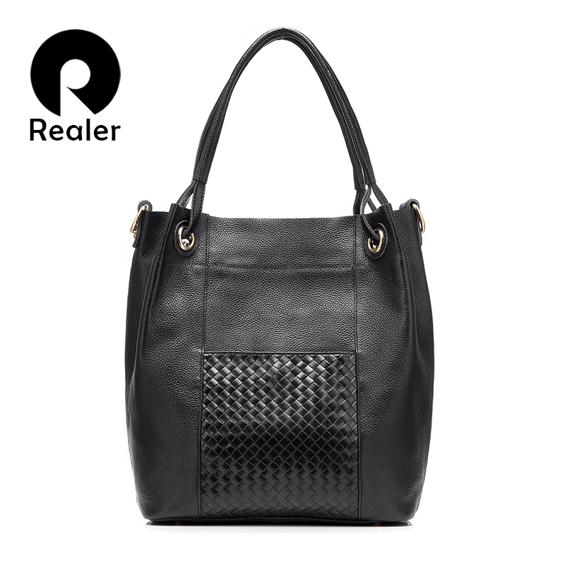 REALER brand design women genuine leather bag high quality women handbag red/gray/black tote bag female leather shoulder bag realer brand women shoulder bag with