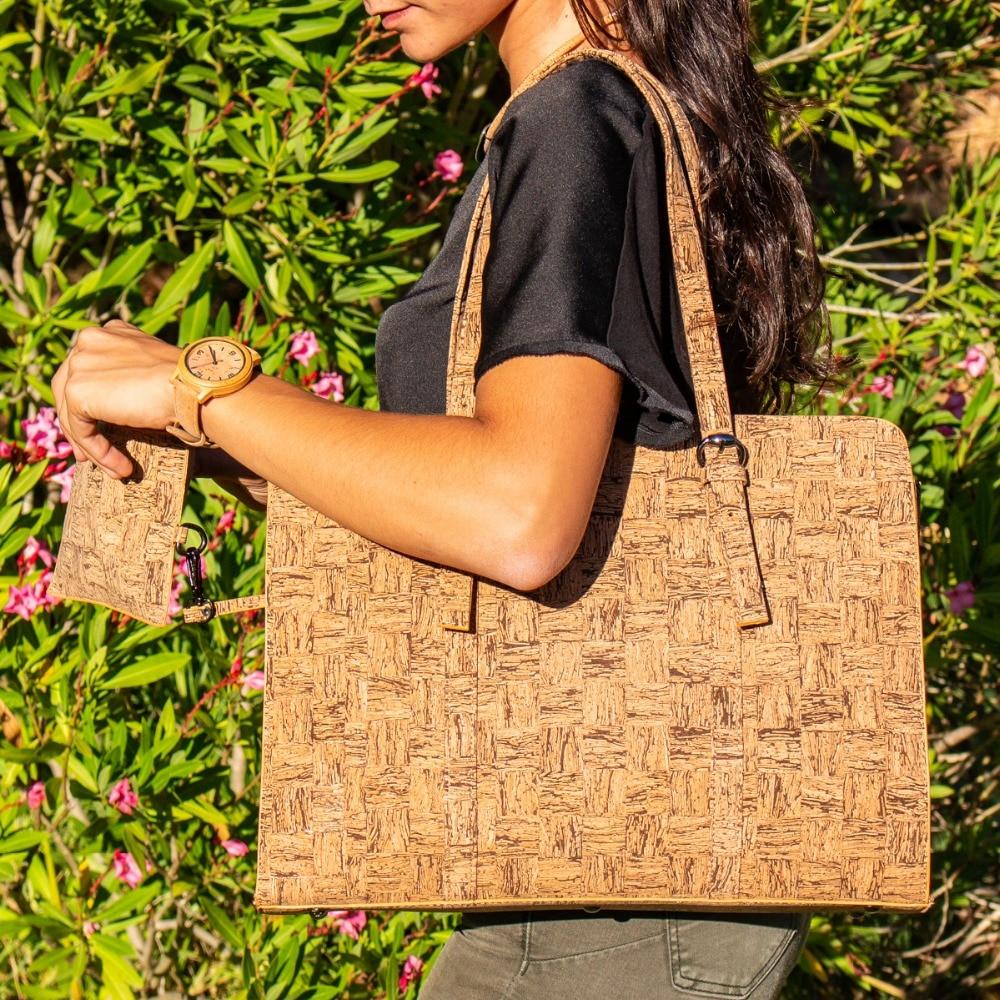 Cork bags cork handbag for women Strip cork Womens laptop Cork bag Business briefcase handmade Original fashion handbag BAG-323 цены онлайн