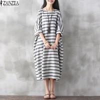 M 5XL ZANZEA Striped Printed Short Sleeve Retro Cotton Linen Dress Summer Womens Side Pockets Casual
