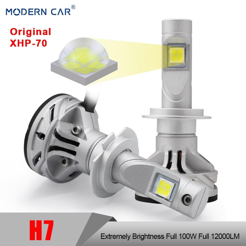 Moderne Voiture H7 LED Voiture Ampoule Pleine 100 w 12000LM XHP-70 Phares Feux de Brouillard 6500 k Blanc 12 v 24 v Projecteur Led Phare