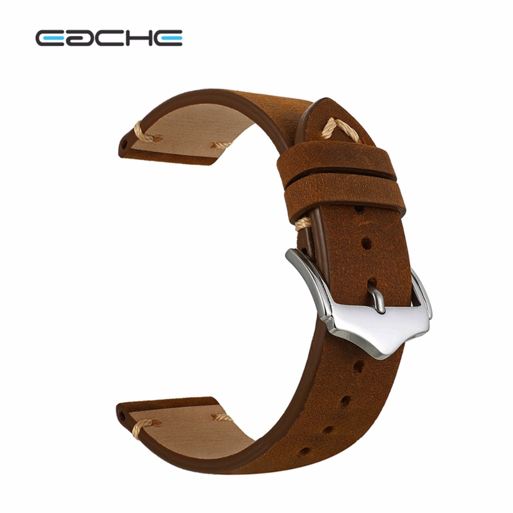 EACHE 20mm 22mm Crazy Horse Handmade Genuie Leather Watch band Straps Different Colors & Size eache 20mm 22mm 24mm 26mm genuine leather watch band crazy horse leather strap for p watch hand made with black buckles